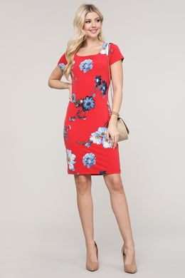 Red and Blue Floral Cap Sleeve Dress