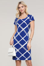 Load image into Gallery viewer, Royal Blue and Ivory Windowpane Cap Sleeve Dress