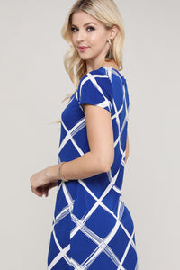 Royal Blue and Ivory Windowpane Cap Sleeve Dress
