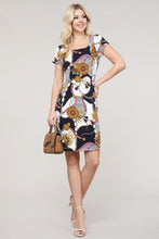 Load image into Gallery viewer, Navy and Ivory Abstract Cap Sleeve Dress
