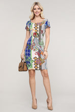 Load image into Gallery viewer, Royal Blue Paisley Abstract Cap Sleeve Dress