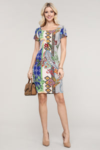 Royal Blue Paisley Abstract Cap Sleeve Dress