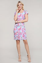 Load image into Gallery viewer, Pink and Aqua Abstract Cap Sleeve Dress
