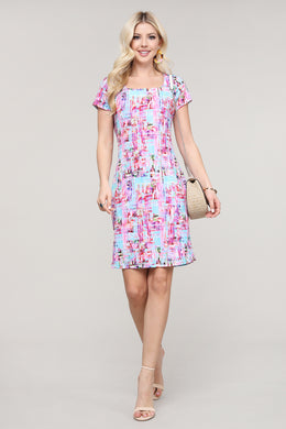 Pink and Aqua Abstract Cap Sleeve Dress