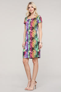 Multicolor Abstract Cap Sleeve Dress