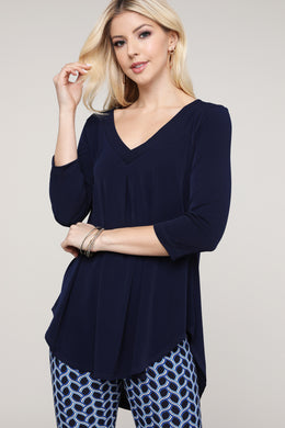 Navy V-Neck Tunic Top