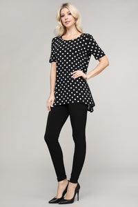 Black & Ivory Polka Dot Asymmetrical Tunic