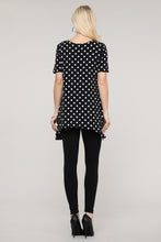 Load image into Gallery viewer, Black & Ivory Polka Dot Asymmetrical Tunic