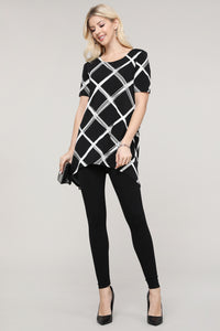 Black and Ivory Windowpane Asymmetrical Tunic