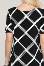 Load image into Gallery viewer, Black and Ivory Windowpane Asymmetrical Tunic