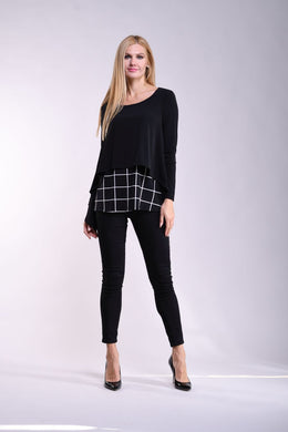 Black & Ivory Abstract Two-Tone Hi-Low Tunic