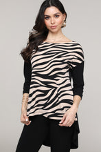 Load image into Gallery viewer, Black & Cream Animal Hi-Low Three-Quarter Sleeve Tunic