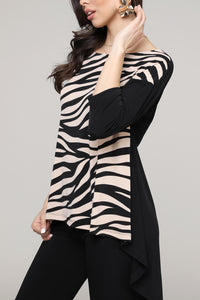 Black & Cream Animal Hi-Low Three-Quarter Sleeve Tunic