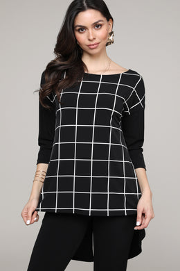 Black & Ivory Square Print Hi-Low Three-Quarter Sleeve Tunic