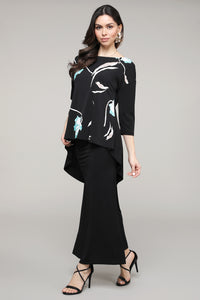 Black & Aqua Floral Abstract Hi-Low Three-Quarter Sleeve Tunic
