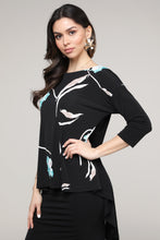 Load image into Gallery viewer, Black & Aqua Floral Abstract Hi-Low Three-Quarter Sleeve Tunic