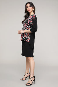 Black & Pink Floral Abstract Hi-Low Three-Quarter Sleeve Tunic