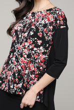 Load image into Gallery viewer, Black & Pink Floral Abstract Hi-Low Three-Quarter Sleeve Tunic