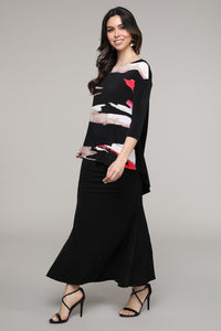 Black & Pink Abstract Hi-Low Three-Quarter Sleeve Tunic