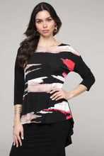 Load image into Gallery viewer, Black & Pink Abstract Hi-Low Three-Quarter Sleeve Tunic