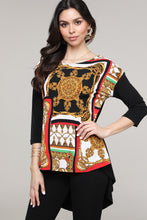 Load image into Gallery viewer, Red & Black Abstract Hi-Low Three-Quarter Sleeve Tunic