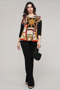 Red & Black Abstract Hi-Low Three-Quarter Sleeve Tunic