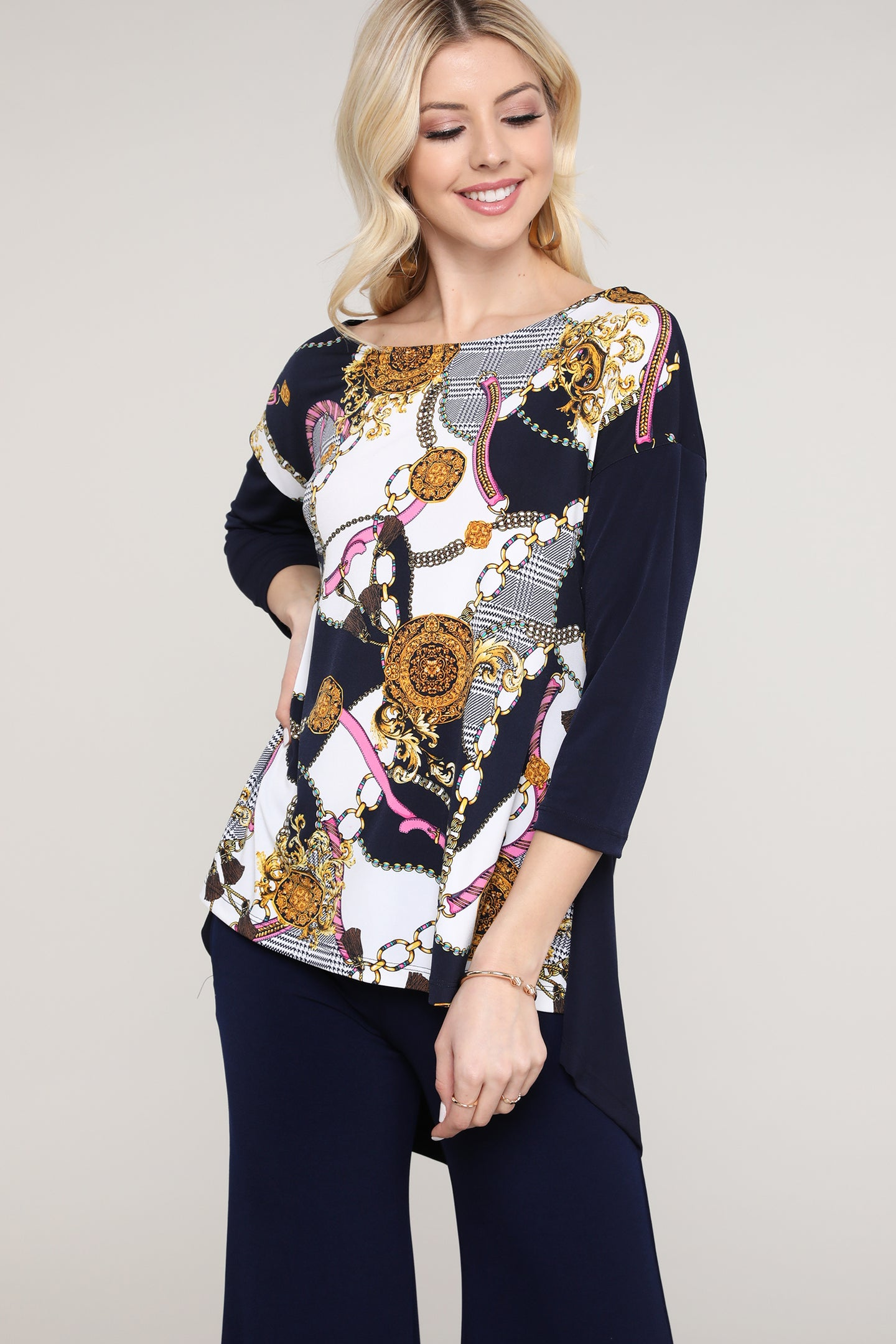 Navy and Ivory Abstract Three Quarter Sleeve Tunic