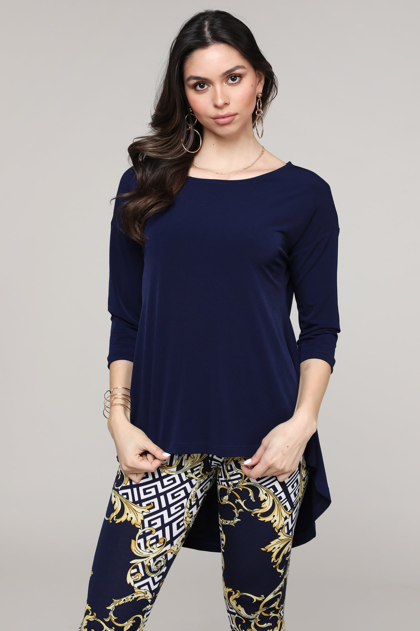 Navy Hi-Low Three-Quarter Sleeve Tunic