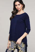 Load image into Gallery viewer, Navy Hi-Low Three-Quarter Sleeve Tunic