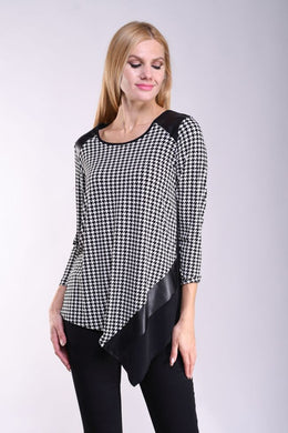 Black & Ivory Houndstooth Abstract Top