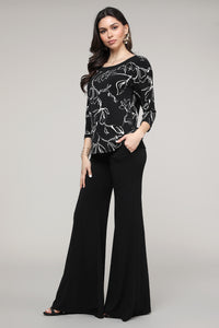 Black & Ivory Floral Three-Quarter Sleeve Boatneck Top