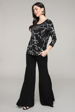 Load image into Gallery viewer, Black & Ivory Floral Three-Quarter Sleeve Boatneck Top