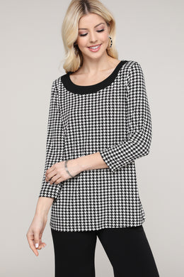 Black & Ivory Houndstooth Scoop Neck Top