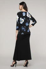Load image into Gallery viewer, Black & Blue Floral Three-Quarter Sleeve Boatneck Top