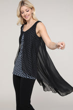 Load image into Gallery viewer, Black and Navy Geometric Two Layered Chiffon Hi Low Tunic