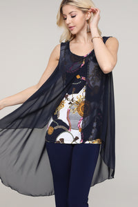 Navy and Ivory Abstract Two Layered Chiffon Hi Low Tunic