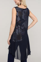 Load image into Gallery viewer, Navy and Ivory Abstract Two Layered Chiffon Hi Low Tunic