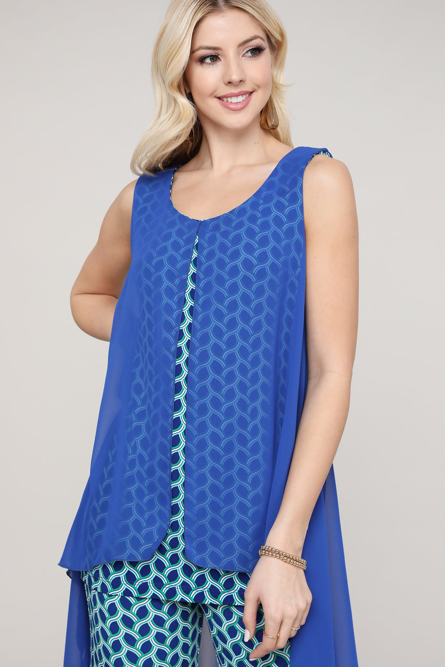 Royal Blue and Green Geometric Two Layered Chiffon Hi Low Tunic