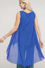 Load image into Gallery viewer, Royal Blue and Green Geometric Two Layered Chiffon Hi Low Tunic