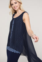 Load image into Gallery viewer, Black and Royal Blue Two Layered Chiffon Hi Low Tunic