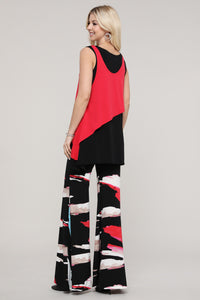 Red and Black Layered Tank Tunic