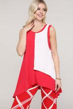 Load image into Gallery viewer, Red and Ivory Layered Tank Tunic