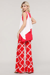 Red and Ivory Layered Tank Tunic
