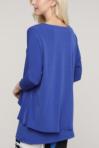 Royal Blue V-Neck Layered Tunic