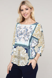 Ivory and Blue Abstract Boatneck Bat Sleeve Top