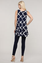 Load image into Gallery viewer, Navy and Ivory Windowpane Swing Tank Tunic