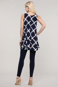 Navy and Ivory Windowpane Swing Tank Tunic