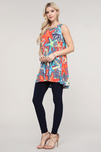 Coral and Blue Starfish Swing Tank Tunic