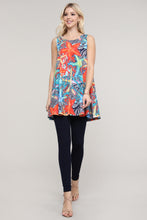 Load image into Gallery viewer, Coral and Blue Starfish Swing Tank Tunic