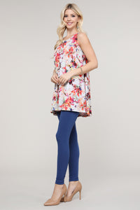 Ivory and Pink Floral Abstract Swing Tank Tunic